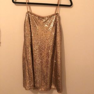 Free People Time to Shine Gold dress